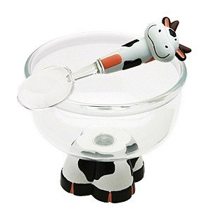 cow ice cream bowl and spoon