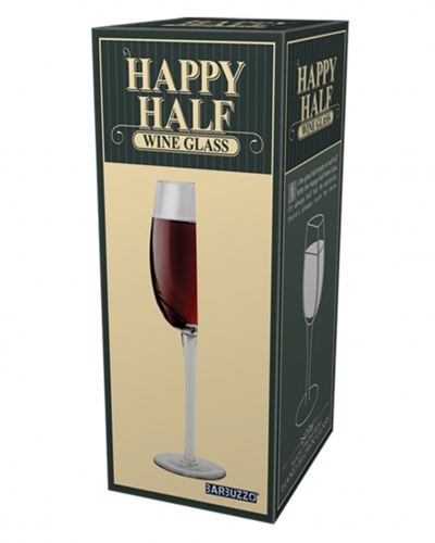 Happy Half Wine Glass