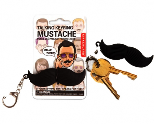 Talking Mustache Key Chain