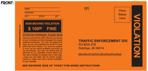 Fake Parking Tickets: Set of 5