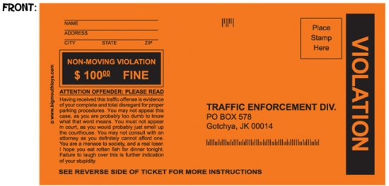 Fake Parking Tickets Set Of 5